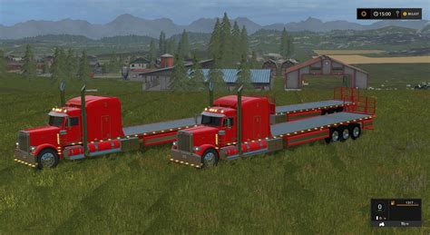 Handmade Ls - peterbilt 388 flatbed custom v2 with trailer fs17