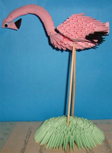 Flamingo Origami - flamingo 3d origami de todo un poco de janeth