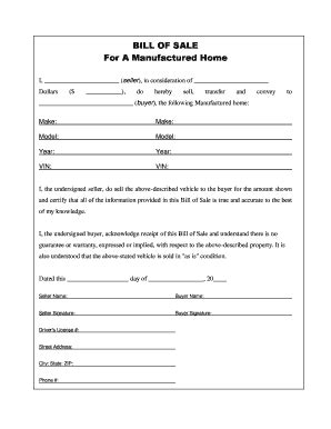 Manufactured Mobile Home Bill Of Sale Forms And Templates Fillable Printable Sles For Pdf Bill Of Sale Template For Mobile Home