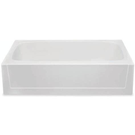 aquatic catalina   gelcoat  hand drain rectangular alcove soaking bathtub  white
