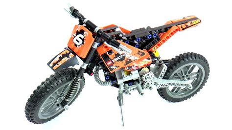 lego technic motocross bike lego technic 42007 moto cross bike speed build and review