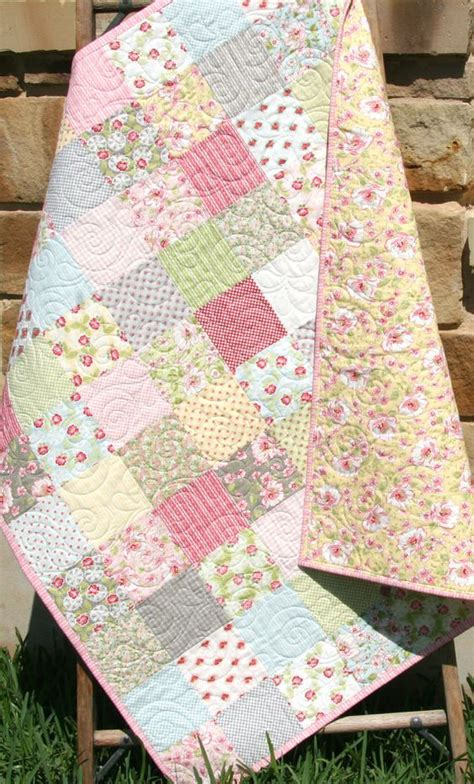 Cottage Patchwork - shabby chic baby quilt bedding crib nursery yellow pink