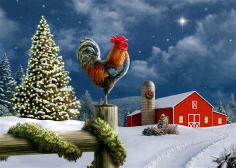 rooster  fence christmas card  lpg