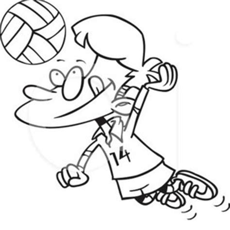 cartoon volleyball coloring page a girl blocking the volleyball coloring page a girl