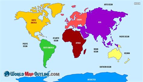 world map with country names and continents world map outline continents www pixshark images