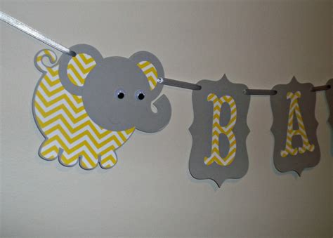 Yellow And Grey Elephant Baby Shower Decorations by Small Baby Gray And Yellow Chevron Elephant Its A