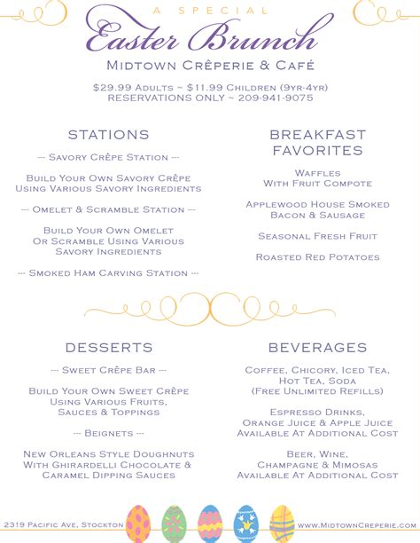 breakfast buffet menu easter brunch buffet 2018 midtown creperie cafe