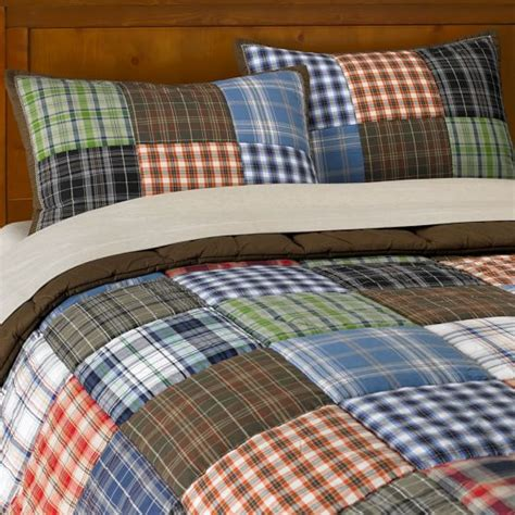 plaid boys bedding patch plaid quilt sham pbteen