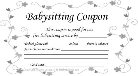 babysitting coupon book template 9 best images of printable babysitting voucher free