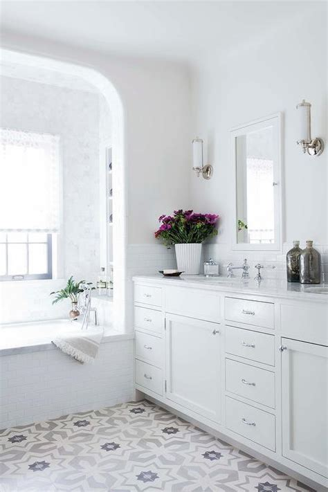 Arched Tub Alcove with Side Shelves   Transitional   Bathroom