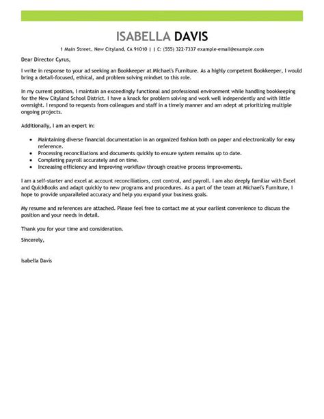 Service Letter Of Accountant best bookkeeper cover letter exles livecareer