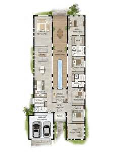 home plans and designs floor plan friday pool in the middle narrow block