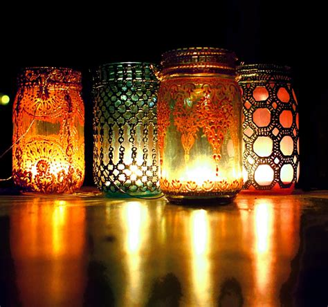 bohemian hanging lantern mason jar candle holder with by