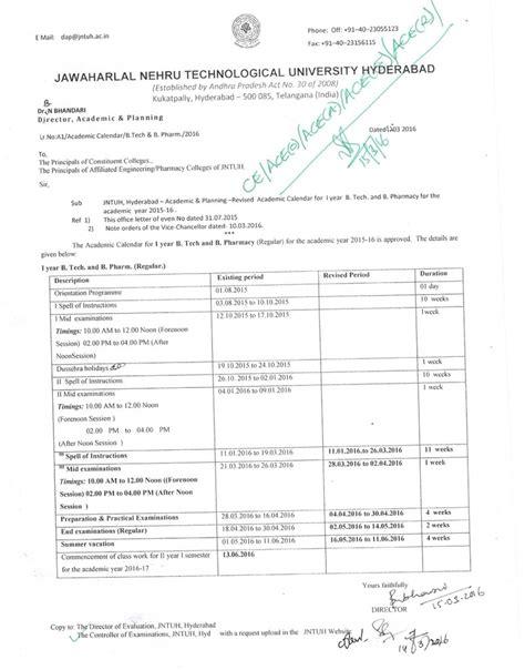 Jntuh Mba 2016 by Jntuh Revised B Tech B Pharmacy 1st Year R15 Academic