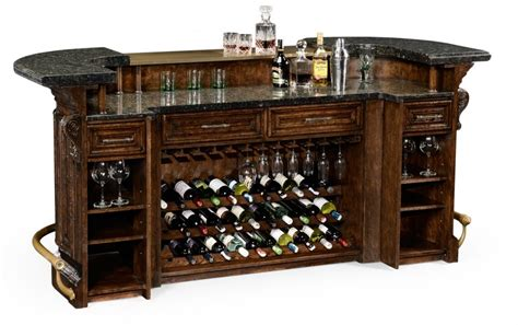 home bar oak wood granite top with brass rail