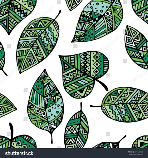 tribal pattern leaf green ethnic mexican tribal leaf seamless pattern white