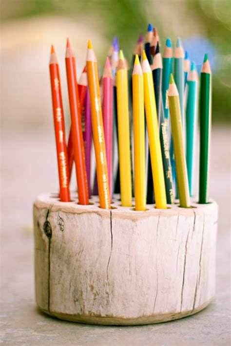 diy idea   whimsical wood pencil holder curbly