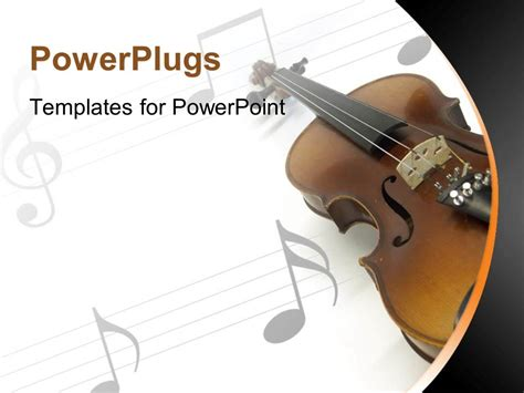 powerpoint template violin on white music sheet with gray