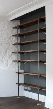 shelving by design sebastian industrial vintage wooden shelves by grain