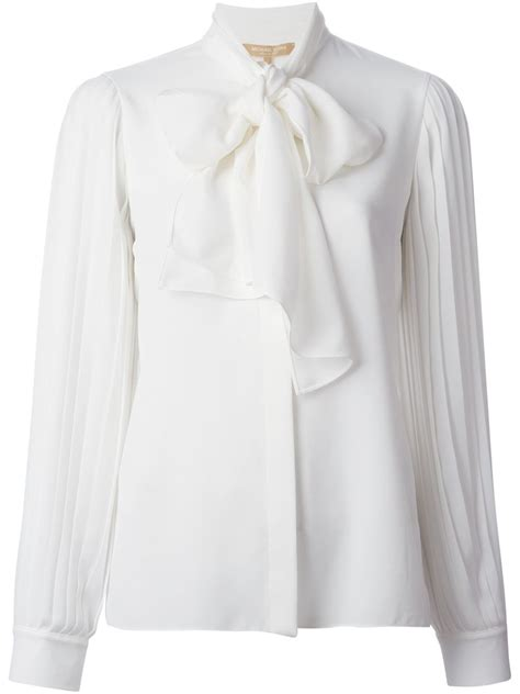 Michael Kors Tie Front Blouse by Lyst Michael Kors Tie Blouse In White