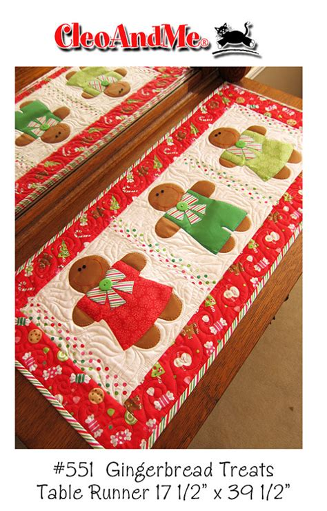 gingerbread treats table runner pattern