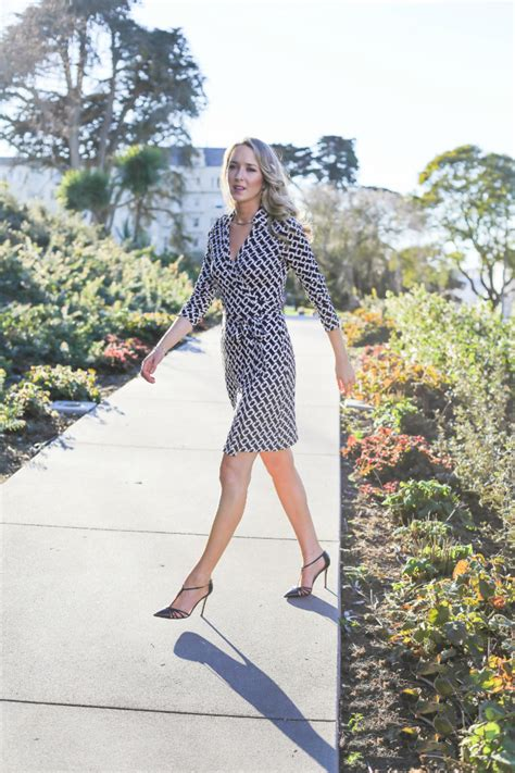 iconic dvf wrap dress in classic black and white geometric
