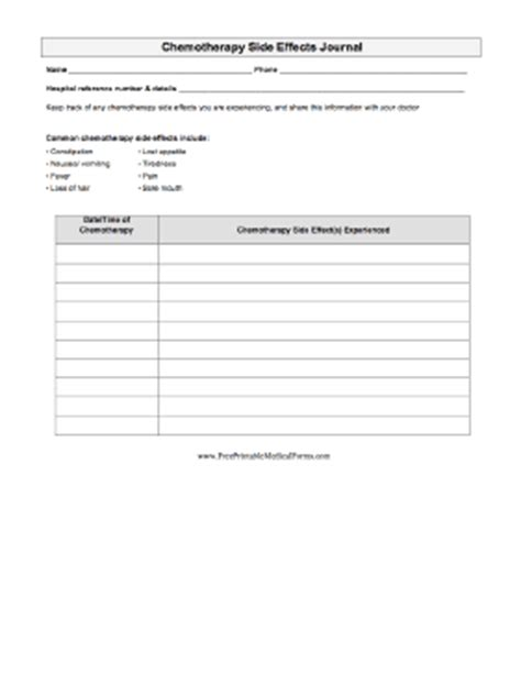 printable chemotherapy side effects journal