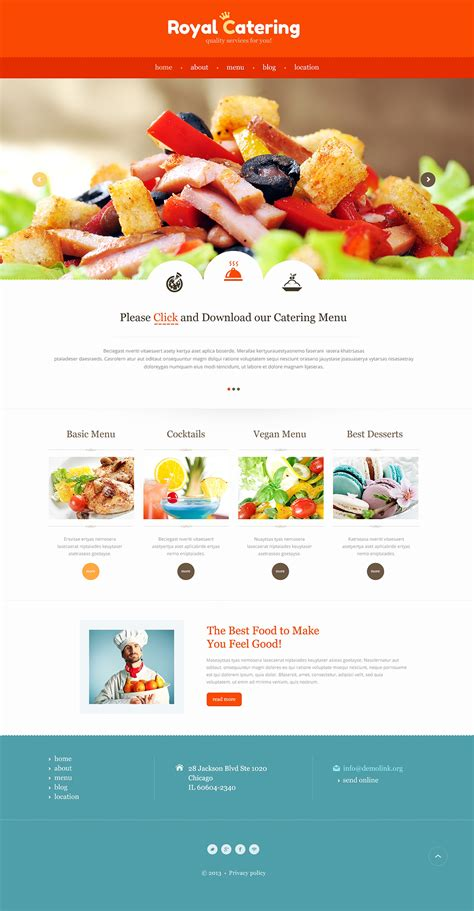 Catering Responsive Website Template 47307 Catering Website Templates