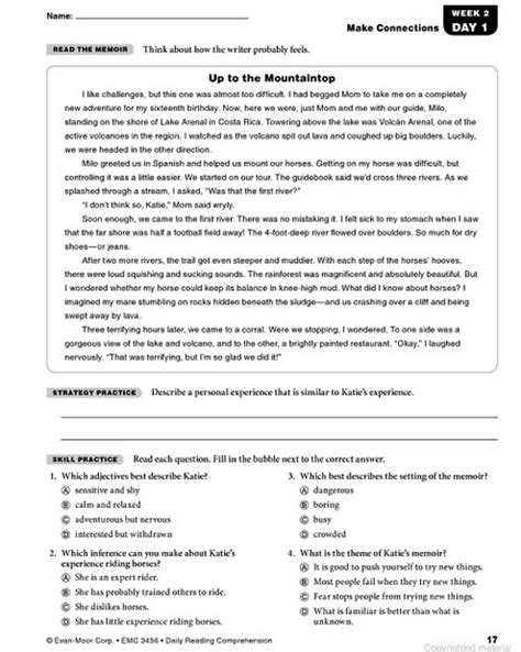 reading comprehension test grade 6 short reading comprehension for grade 6 with questions