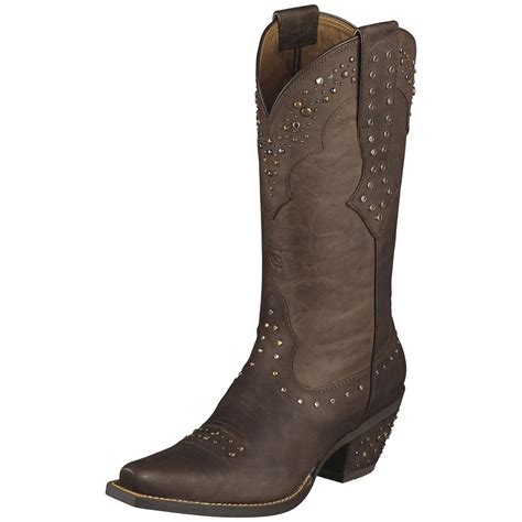 cowboy boots womans s ariat 174 11 quot rhinestone cowboy boots brown