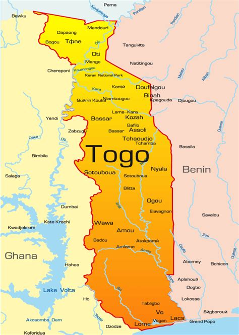 political map of togo map showing togo