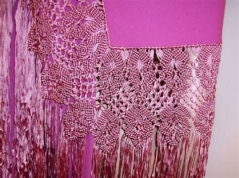 Macrame Work - orchid woolen shawl with silk macrame work and fringe from patriciajonsfinest on ruby