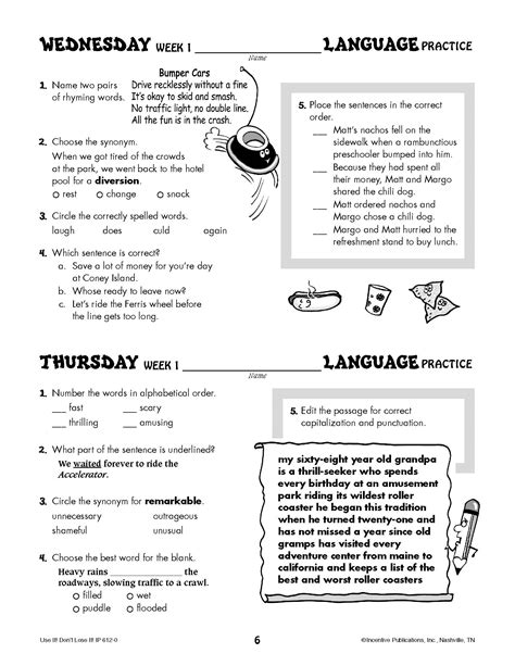 daily language review worksheets worksheets