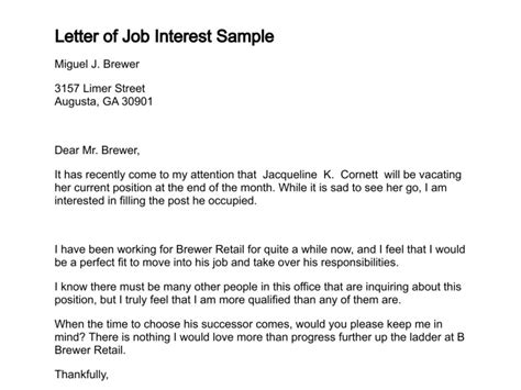 sle letter interest position sle business letter
