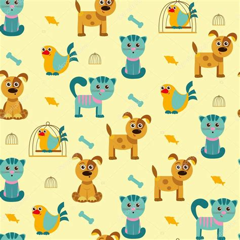 imagenes vectores de animales vector de dibujos animados de patrones sin fisuras con