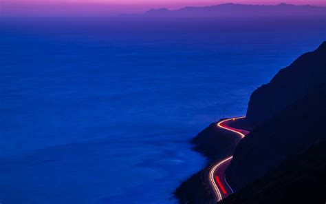 light trails road mountains hd nature 4k wallpapers