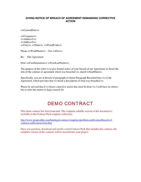 Breach Of Employment Contract Letter Template Breach Of Contract Company Documents
