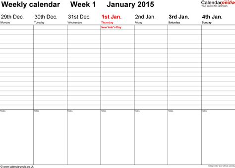 2015 calendar template monthly printable weekly calendar template 2015