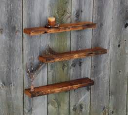 Vintage Barnwood, Weathered Edge Floating Shelves, Set of Three   Rustic   Display And