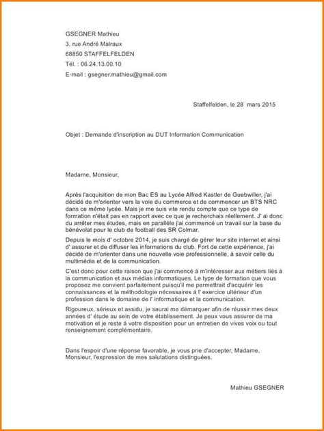 Lettre De Motivation Ecole Kinesitherapie 7 lettre de motivation 233 cole de communication format lettre