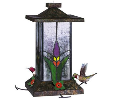 stained glass hummingbird feeder qvc com