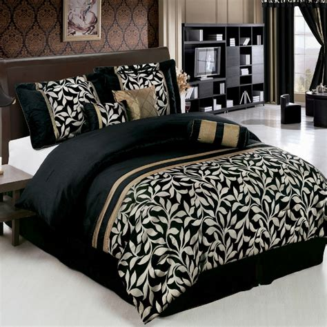 Black And Gold Comforters by 11pc Black Gold Floral Comforter Sheet Set Cal King Ebay