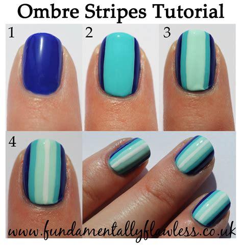 tutorial nail art ombre fundamentally flawless blue ombre stripes nail art tutorial