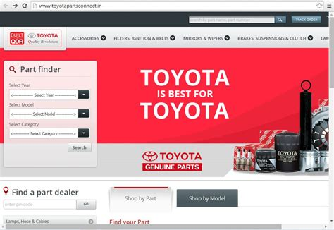 toyota full website parts online spare parts online