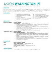 Occupational Therapy Resume Exle by Best Physical Therapist Resume Exle Livecareer