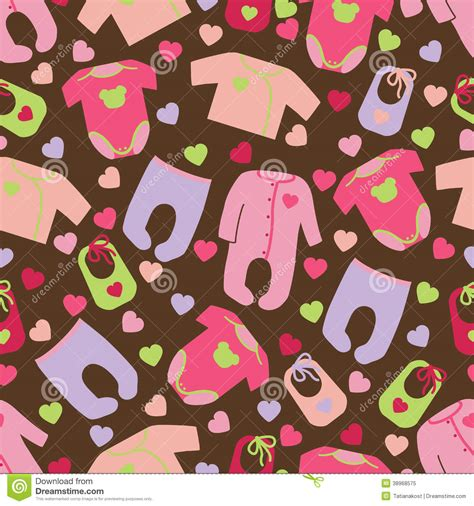 clothes pattern wallpaper clothes for newborn baby girl seamless pattern stock