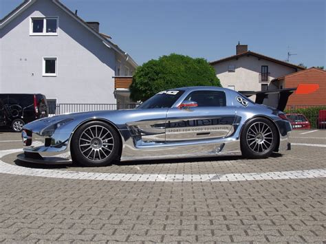chrome wrapped cars chrome wrapped mercedes sls amg gt3 racer car tuning
