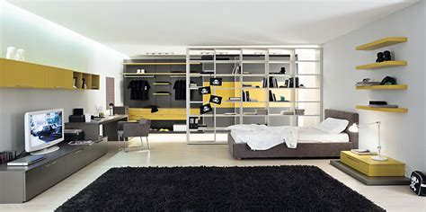 grey yellow and black bedroom yellow grey bedroom with white bookcase and black rug interior design ideas