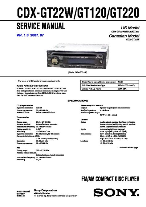 sony cdx gt120 wiring diagram 29 wiring diagram images