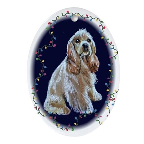 cocker spaniel christmas oval ornament by nancysartstudio